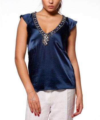 Navy Embellished Cap-Sleeve Top
