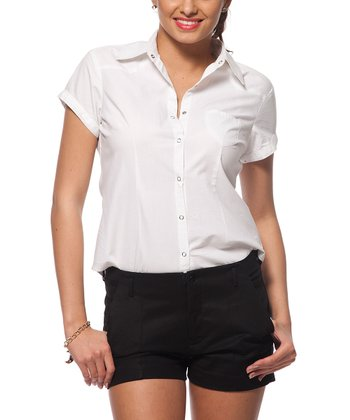 White Short-Sleeve Button-Up