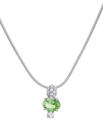 Silver & Peridot Crystal Pendant Necklace