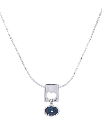 Sliver & Montana Heart Crystal Pendant Necklace