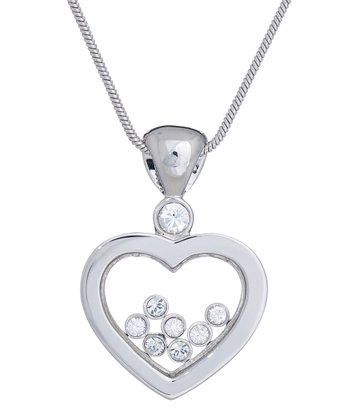 Silver & Crystal Heart Pendant Necklace