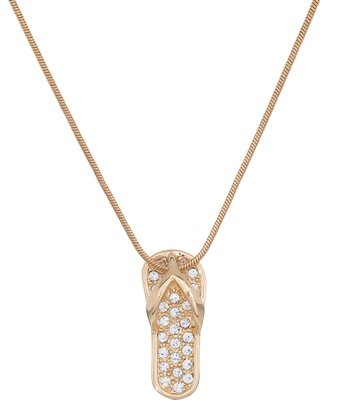 Gold Crystal Sandal Pendant Necklace