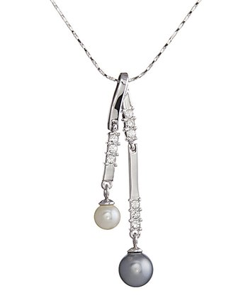 Crystal & Pearl Drop Pendant Necklace