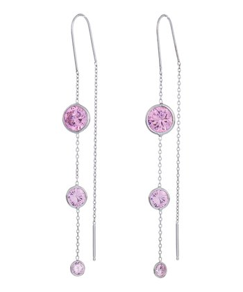 Pink Graduated Drop Threader Earrings