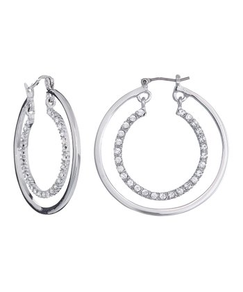 Silver SWAROVSKI ELEMENTS Double Hoop Earrings