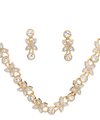 Gold & Crystal Petal Necklace Set