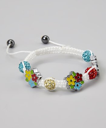 White & Red Crystal Flower Adjustable Bracelet