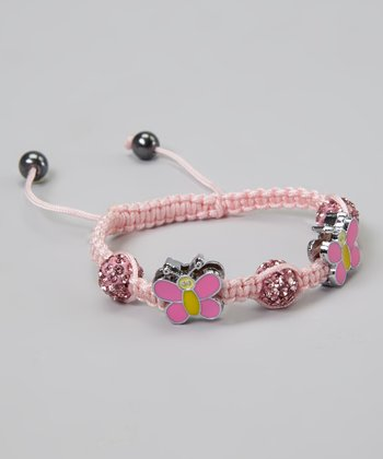 Pink Crystal Butterfly Adjustable Bracelet