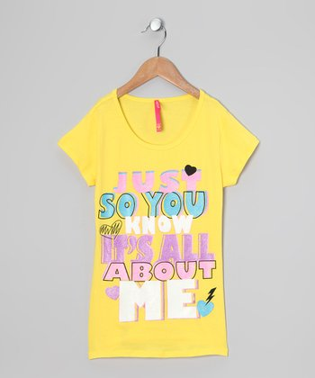 Yellow 'It's All About Me' Tee