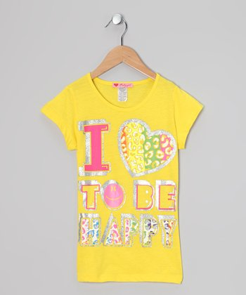 Yellow 'I Love to Be Happy' Tee
