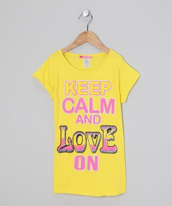 Yellow 'Keep Calm and Love On' Tee