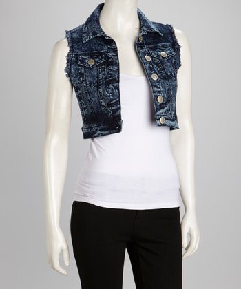 Indigo Denim Cropped Vest