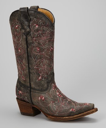 Black & Pink Embroidered Floral Cowboy Boot