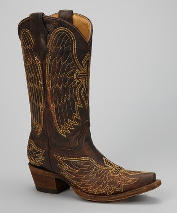 Brown & Gold Wing & Cross Cowboy Boot