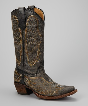 Black & Metallic Wing & Cross Cowboy Boot