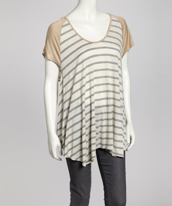 Silver & Tan Stripe Swing Top - Women