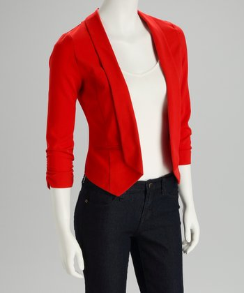 Poppy Red Ruched Tulip-Back Blazer
