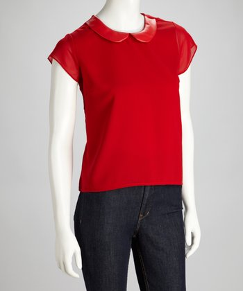 Red Peter Pan Collar Top