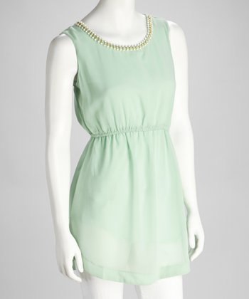 Mint Embellished Sleeveless Tunic