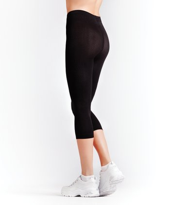 "Black ""Anti-Cellulite"" Compression Capri Pants - Women & Plus"
