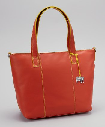 Orange Grab Handle Crossbody Tote