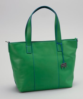 Green Grab Handle Crossbody Tote
