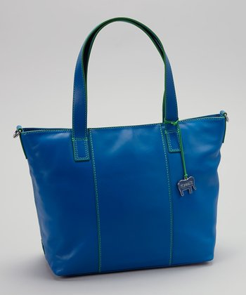 Blue Grab Handle Crossbody Tote