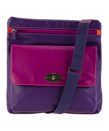 Sangria & Purple Top-Zip Leather Crossbody Bag