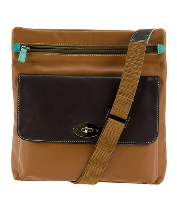 Chocolate & Tan Top Zip Crossbody Bag
