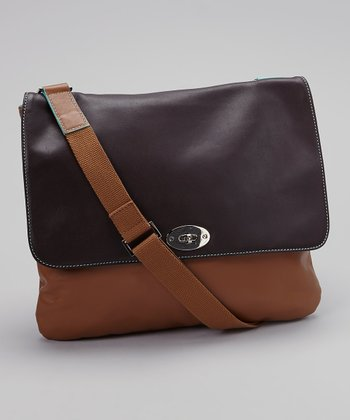 Chocolate & Tan Turn-Lock Messenger