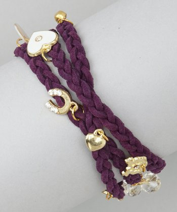 Purple Wrap-Around Charm Bracelet
