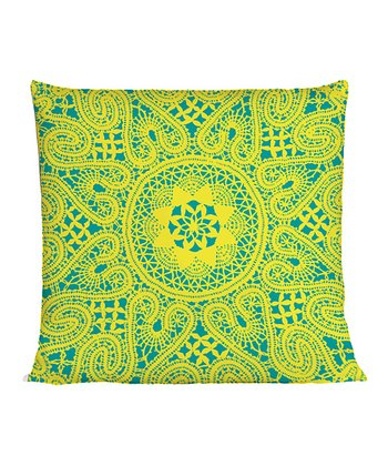 Yellow & Teal Lace Throw Pillow