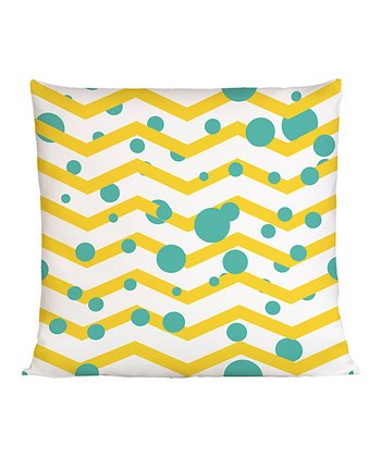 White & Yellow Zigzag Throw Pillow