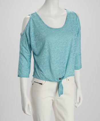 Blue Burnout Tie-Front Crop Top