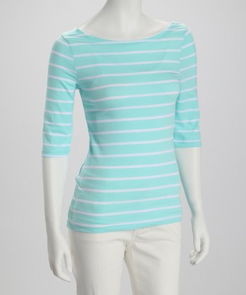 Mint & White Stripe Boatneck Three-Quarter Sleeve Top