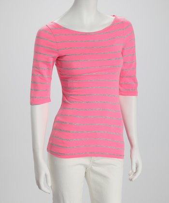 Neon Pink & Gray Stripe Boatneck Three-Quarter Sleeve Top