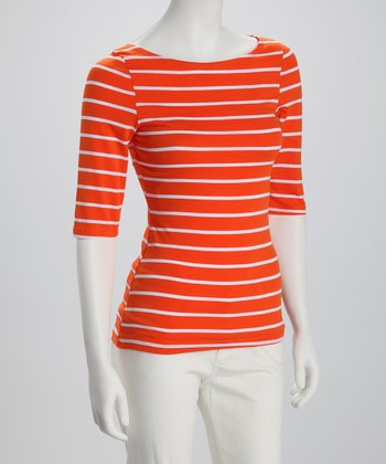 Orange & White Stripe Boatneck Three-Quarter Sleeve Top