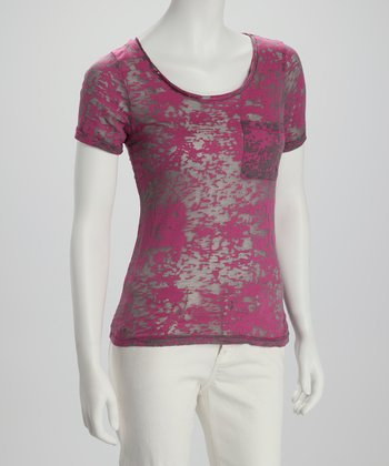 Fuchsia & Gray Burnout Tee