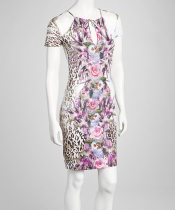 Lilac Embellished Floral Leopard Cutout Dress