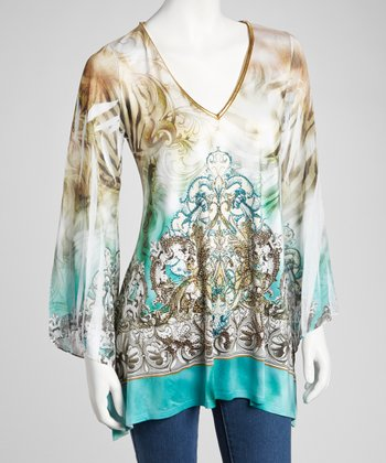 Green & Brown Sublimation Long-Sleeve Top