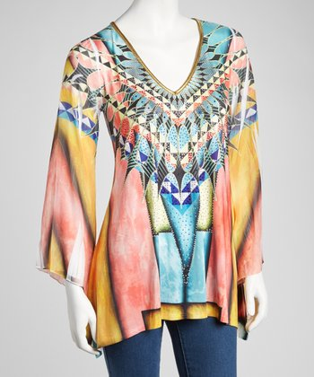 Rainbow Tribal Embellished Long-Sleeve Top