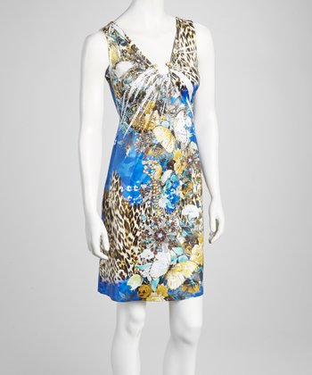 Blue Embellished Keyhole Dress