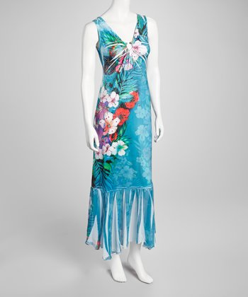 Aqua Embellished Floral Keyhole Maxi Dress