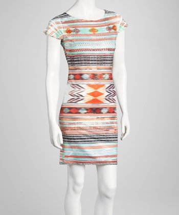 Aztec Orange Embellished Sublimation Stripe Dress