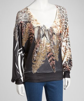 Black & Brown Feather Mesh-Shoulder Dolman Top