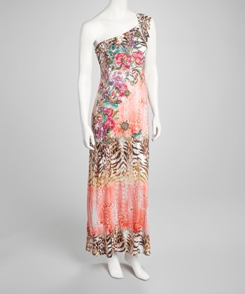 Coral Embellished Asymmetrical Maxi Dress
