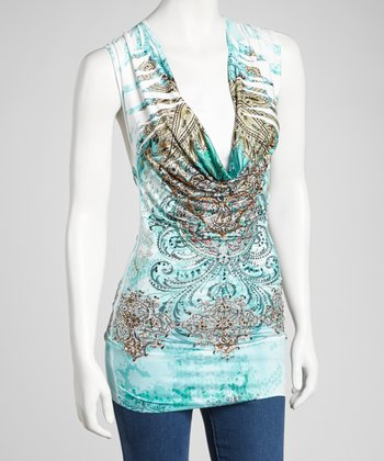 Turquoise Sublimation Drape-Neck Top