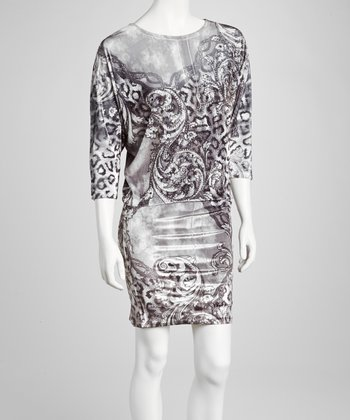 Gray Leopard Embellished Blouson Dress