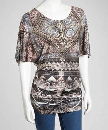 Black & Brown Embellished Ruched Angel-Sleeve Top