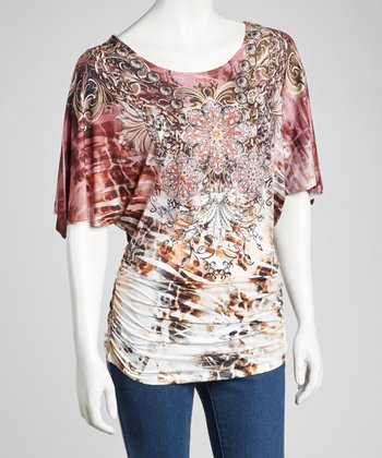 Pink Embellished Ruched Angel-Sleeve Top